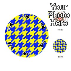 Houndstooth 2 Blue Playing Cards 54 (Round)