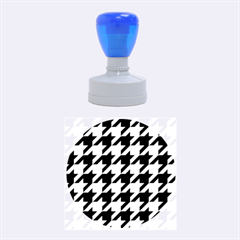 Houndstooth 2 Blue Rubber Round Stamps (medium)