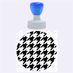 Houndstooth 2 Blue Rubber Round Stamps (Large)