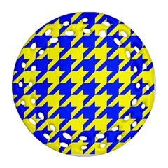 Houndstooth 2 Blue Ornament (round Filigree)