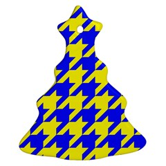 Houndstooth 2 Blue Christmas Tree Ornament (2 Sides)