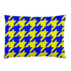 Houndstooth 2 Blue Pillow Cases (Two Sides)