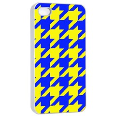 Houndstooth 2 Blue Apple Iphone 4/4s Seamless Case (white)