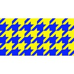 Houndstooth 2 Blue Twin Hearts 3D Greeting Card (8x4)  Back