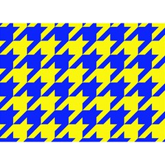 Houndstooth 2 Blue Birthday Cake 3D Greeting Card (7x5)