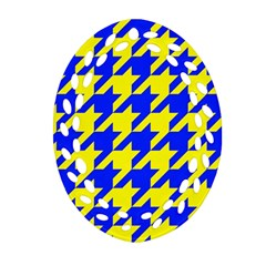 Houndstooth 2 Blue Ornament (oval Filigree)
