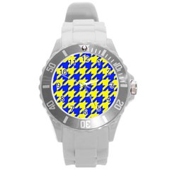 Houndstooth 2 Blue Round Plastic Sport Watch (L)