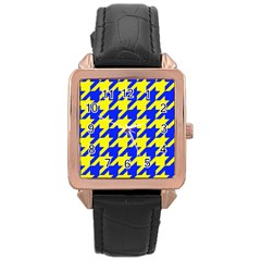 Houndstooth 2 Blue Rose Gold Watches