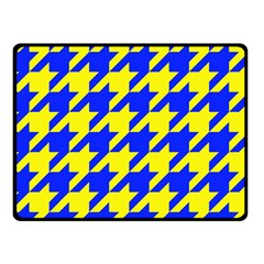 Houndstooth 2 Blue Double Sided Fleece Blanket (Small)