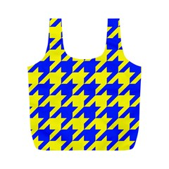 Houndstooth 2 Blue Full Print Recycle Bags (M)