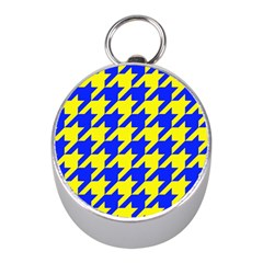 Houndstooth 2 Blue Mini Silver Compasses