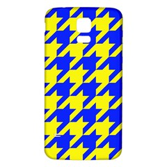 Houndstooth 2 Blue Samsung Galaxy S5 Back Case (White)
