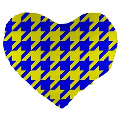 Houndstooth 2 Blue Large 19  Premium Flano Heart Shape Cushions
