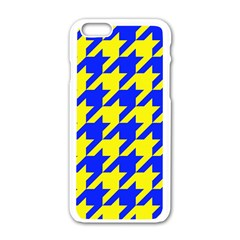 Houndstooth 2 Blue Apple iPhone 6/6S White Enamel Case