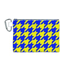 Houndstooth 2 Blue Canvas Cosmetic Bag (M)