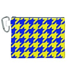 Houndstooth 2 Blue Canvas Cosmetic Bag (XL)