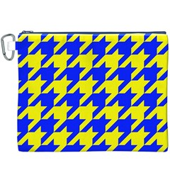 Houndstooth 2 Blue Canvas Cosmetic Bag (XXXL)