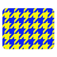 Houndstooth 2 Blue Double Sided Flano Blanket (Large)
