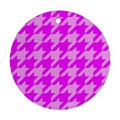 Houndstooth 2 Pink Ornament (Round)