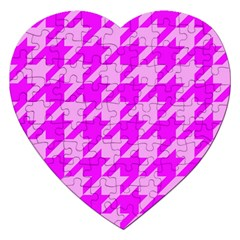 Houndstooth 2 Pink Jigsaw Puzzle (Heart)