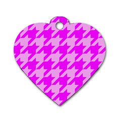 Houndstooth 2 Pink Dog Tag Heart (Two Sides)