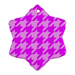 Houndstooth 2 Pink Snowflake Ornament (2-Side)