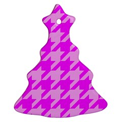 Houndstooth 2 Pink Christmas Tree Ornament (2 Sides)