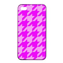 Houndstooth 2 Pink Apple iPhone 4/4s Seamless Case (Black)