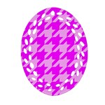 Houndstooth 2 Pink Ornament (Oval Filigree)  Front