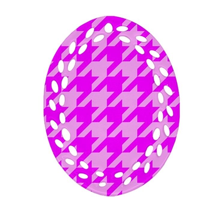 Houndstooth 2 Pink Ornament (Oval Filigree)