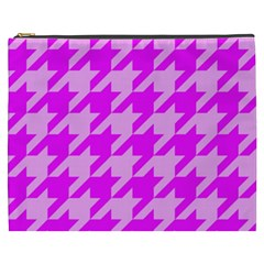 Houndstooth 2 Pink Cosmetic Bag (XXXL)