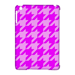 Houndstooth 2 Pink Apple iPad Mini Hardshell Case (Compatible with Smart Cover)