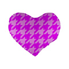Houndstooth 2 Pink Standard 16  Premium Heart Shape Cushions