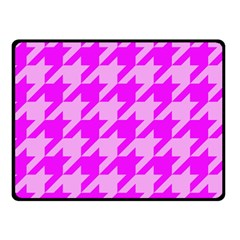 Houndstooth 2 Pink Double Sided Fleece Blanket (Small)