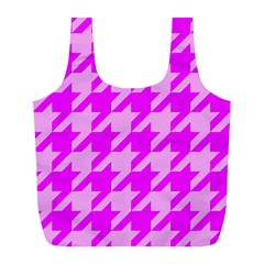 Houndstooth 2 Pink Full Print Recycle Bags (L)