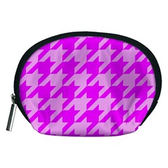Houndstooth 2 Pink Accessory Pouches (medium)