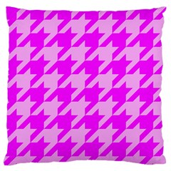 Houndstooth 2 Pink Large Flano Cushion Cases (Two Sides)