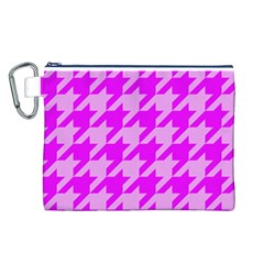 Houndstooth 2 Pink Canvas Cosmetic Bag (L)