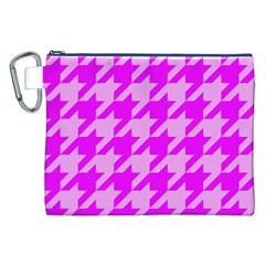 Houndstooth 2 Pink Canvas Cosmetic Bag (XXL)