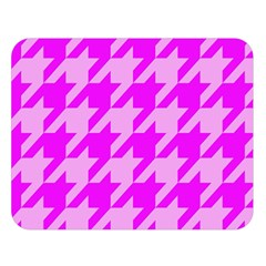 Houndstooth 2 Pink Double Sided Flano Blanket (large)