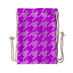 Houndstooth 2 Pink Drawstring Bag (small)