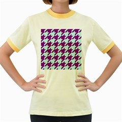 Houndstooth 2 Purple Women s Fitted Ringer T Shirts