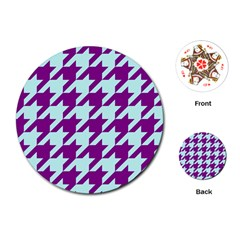 Houndstooth 2 Purple Playing Cards (Round)