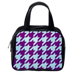 Houndstooth 2 Purple Classic Handbags (One Side)