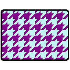 Houndstooth 2 Purple Fleece Blanket (Large)