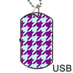 Houndstooth 2 Purple Dog Tag USB Flash (Two Sides)