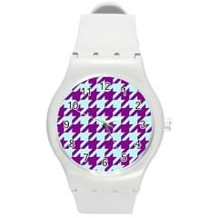 Houndstooth 2 Purple Round Plastic Sport Watch (M)