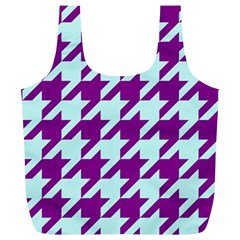 Houndstooth 2 Purple Full Print Recycle Bags (L)
