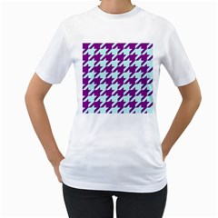 Houndstooth 2 Purple Women s T Shirt (white)