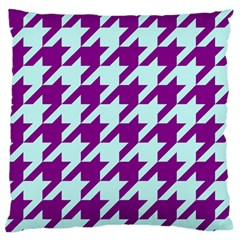 Houndstooth 2 Purple Large Flano Cushion Cases (one Side)